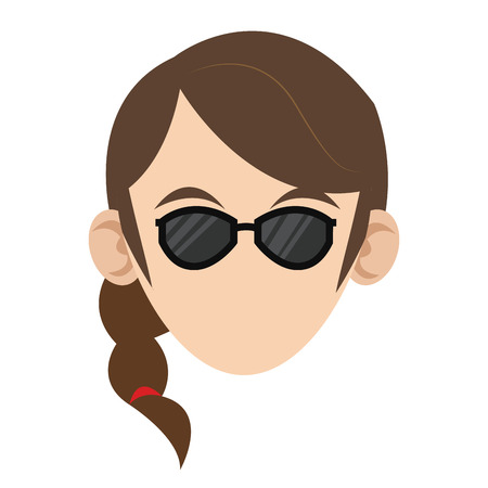caucasian woman: simple flat design head of caucasian woman with braided hair and sunglasses icon Illustration