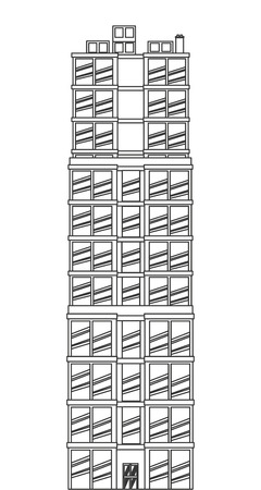 tall building: black line detailed tall building icon vector illustration