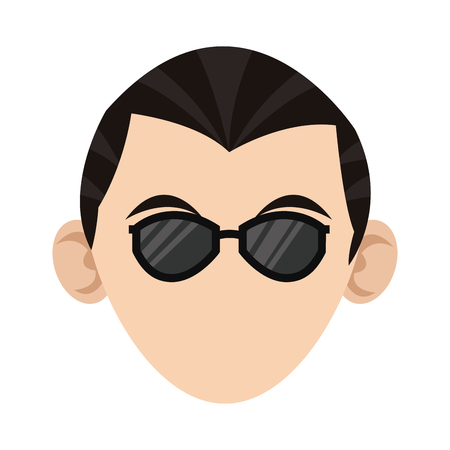 front of the eye: simple flat design head of caucasian man with sunglasses icon vector illustration