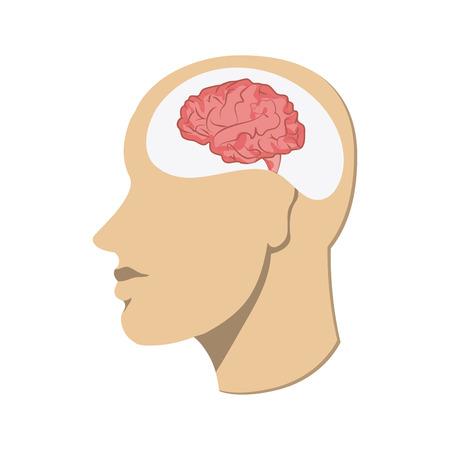 Pensando concepto representado por la cabeza humana sobre fondo blanco. Ilustración de colorfull