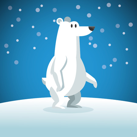 snowing: Animal concept represented by snowbear cartoon over snowing background. Colorfull Illustration Illustration