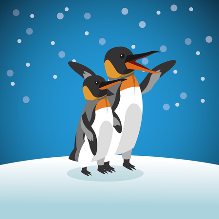 pinguin: Animal concept represented by Pinguin cartoon over snowing background. Colorfull Illustration