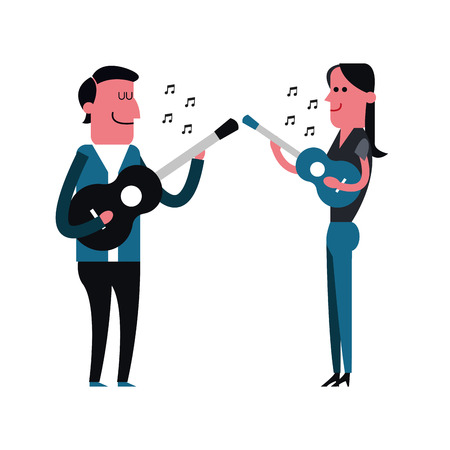 man playing guitar: People concept represented by cartoon of woman and man playing guitar icon. Isolated and Colorfull illustration