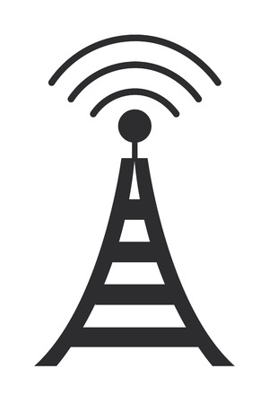 transmit: simple flat design communications antenna icon vector illustration
