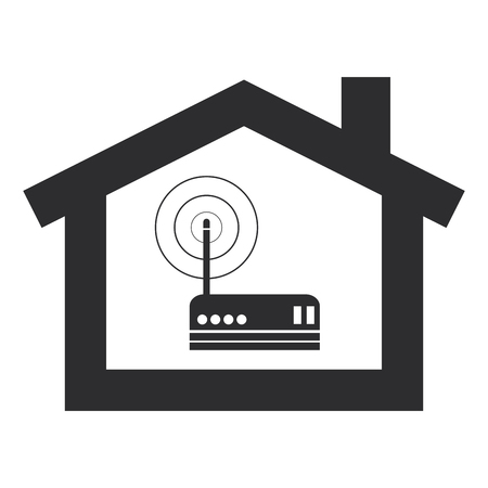 inside house: simple flat design wifi router inside house modem icon vector illustration