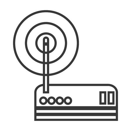 hub computer: simple flat design wifi router modem icon vector illustration Illustration