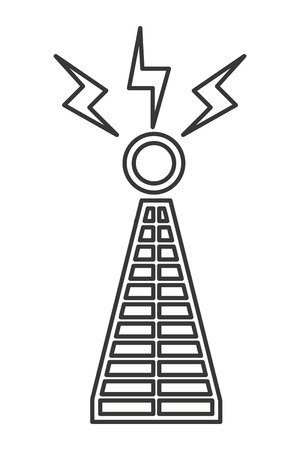 transmit: simple black line communications antenna icon vector illustration