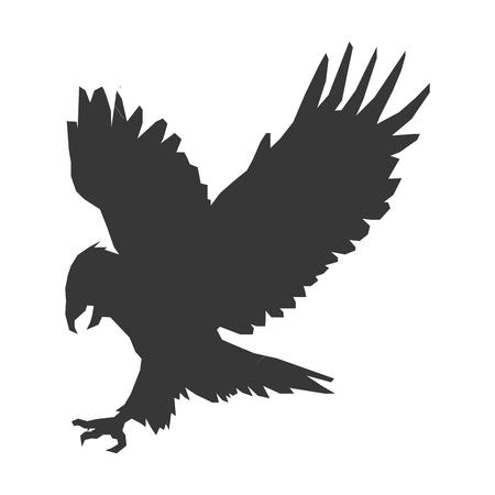 design plat silhouette simple aigle icône illustration vectorielle