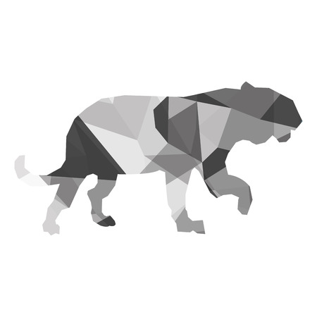 feline: geometric texture simple flat design big wild feline silhouette icon vector illustration Illustration