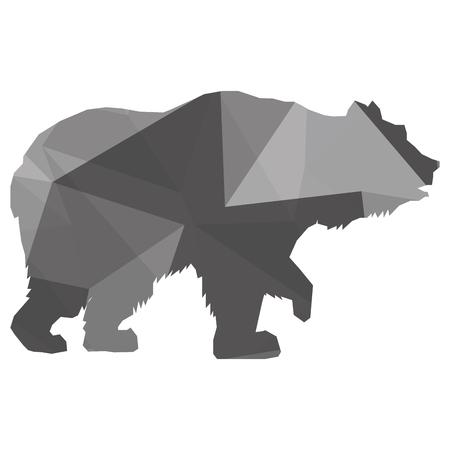 struttura geometrica semplice design piatto orso silhouette icona illustrazione vettoriale