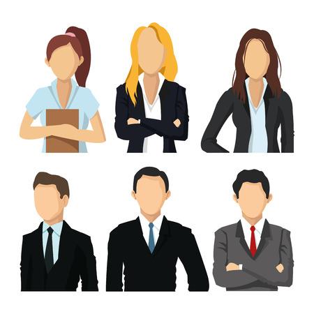Los empresarios concepto representado por mujer y hombre icono de avatar. ilustración y plana