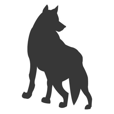 animal silhouette: simple flat design wolf silhouette icon vector illustration animal