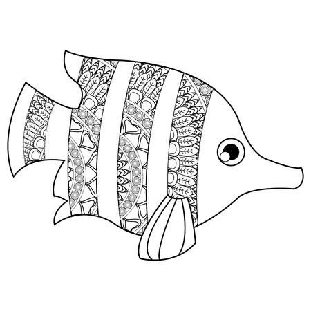 sanctuaries: simple flat design mandala tropical fish icon vector illustration , coloring animal Illustration