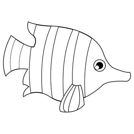 sanctuaries: simple flat line design tropical fish icon vector illustration animal Illustration