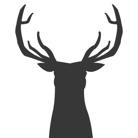 animal silhouette: simple flat design deer silhouette icon vector illustration animal