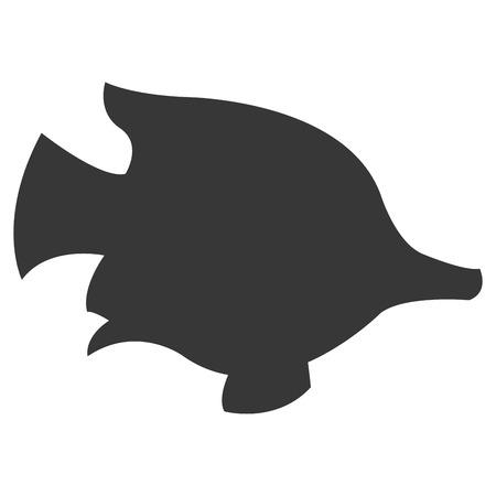 animal silhouette: simple flat design tropical fish silhouette icon vector illustration animal Illustration
