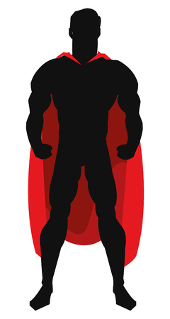 simple flat design superhero posing with red cape silhouette vector illustration Vector Illustration