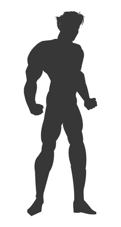 muscular: simple flat design muscular man silhouette icon vector illustration