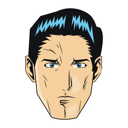 ben day dot: simple flat design comic style face of man with black hair icon vector illustration