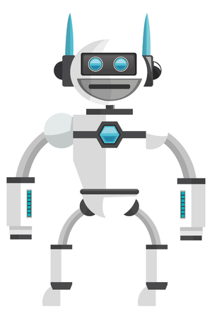 space program: flat design colorful white robot icon vector illustration