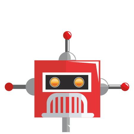 space program: flat design colorful red robot with three antennas icon vector illustration Illustration