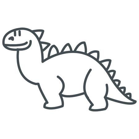 petrifying: simple flat design cute dinosaur icon vector illustration Illustration