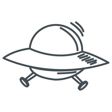 area 51: simple line design alien spaceship icon vector illustration