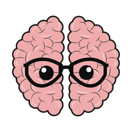 cortex: simple flat design brain with glasses icon vector illustration Illustration