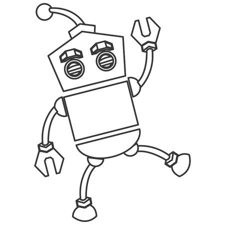 robot face: flat design toy robot icon vector illustration