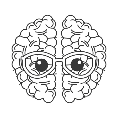 madness: simple flat design brain with glasses icon vector illustration Illustration
