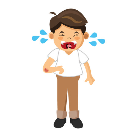 crybaby: simple flat design crying boy icon vector illustration