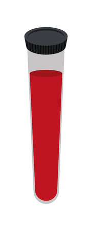 tubing: simple flat design test tube with blood icon vector illustration