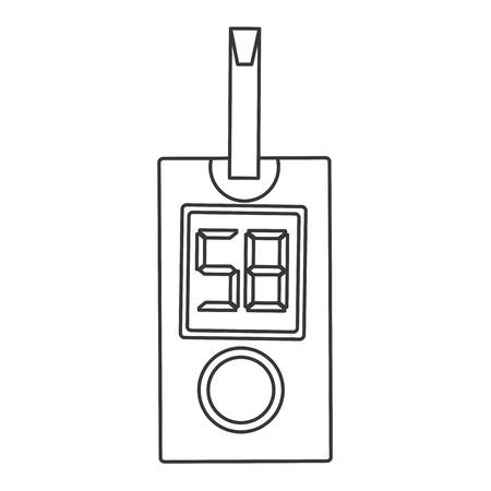 glucometer: simple flat design glucometer with strip icon vector illustration Illustration
