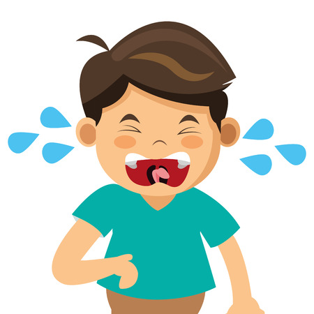lost child: simple flat design crying boy icon vector illustration