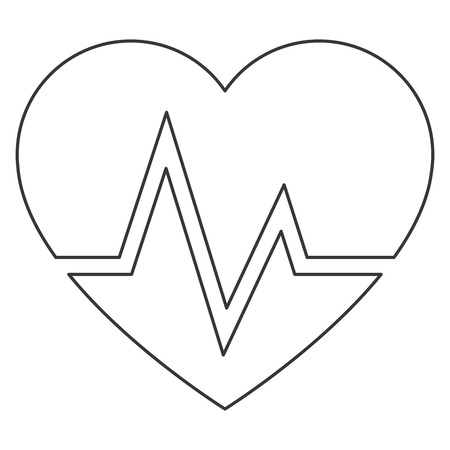 cardiogram: simple flat design heart and cardiogram icon vector illustration