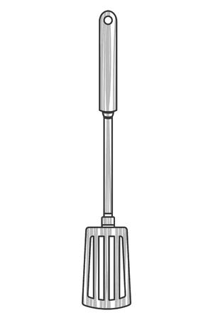 heatproof: simple line design kitchen spatula icon vector illustration