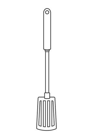 slotted: simple line design kitchen spatula icon vector illustration