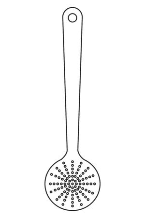 cuisine simple de conception de la ligne cuillère en bois icône illustration vectorielle