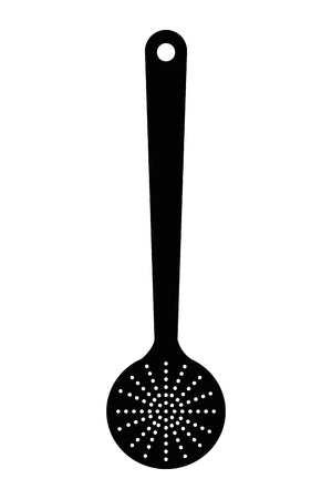 ladles: simple flat design kitchen wooden spoon icon vector illustration