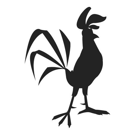 a charming: flat design rooster cartoon silhouette icon vector illustration Illustration
