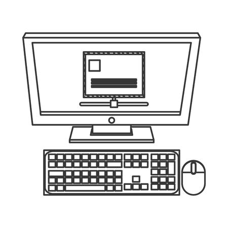 agile: simple flat design computer monitor with envelope on screen icon vector illustration