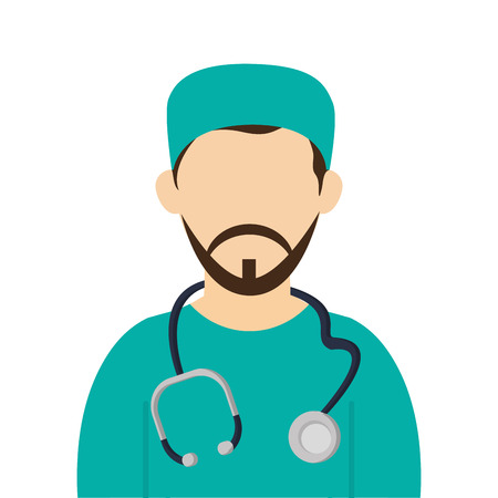 physiotherapist: simple flat design medic or doctor with surgery and stethoscope outfit icon vector illustration Illustration