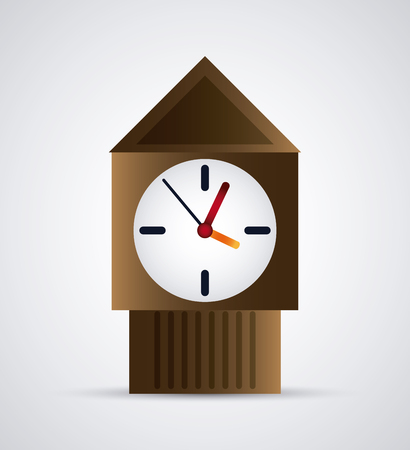 colorfull: Time concept represented by colorfull wood Clock icon. Isolated and flat illustration