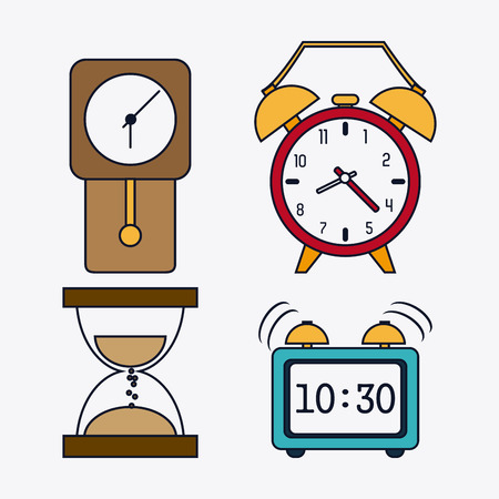 colorfull: Time concept represented by icon set of colorfull Clocks. Isolated and flat illustration