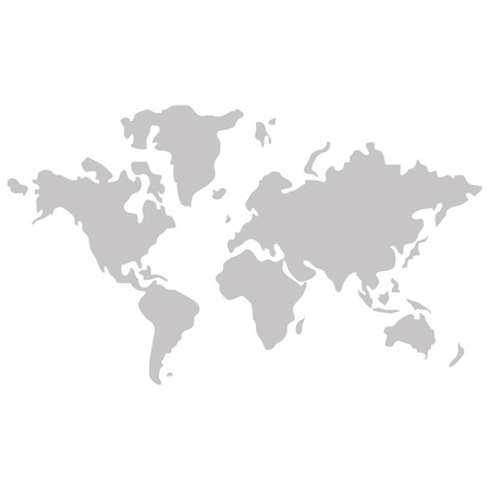distinction: simple flat design world map with distinction between land and sea icon vector illustration