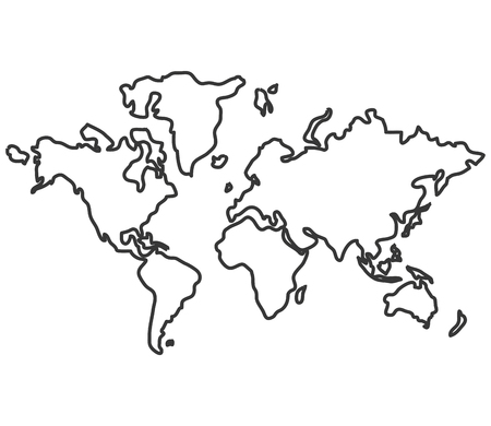distinction: simple line design world map with distinction between land and sea icon vector illustration