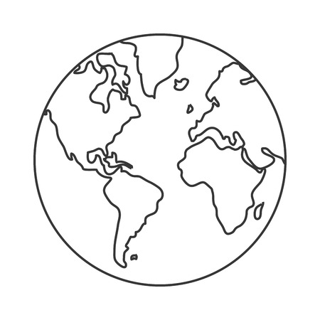 distinction: simple line design earth globe with distinction between water and land icon vector illustration Illustration