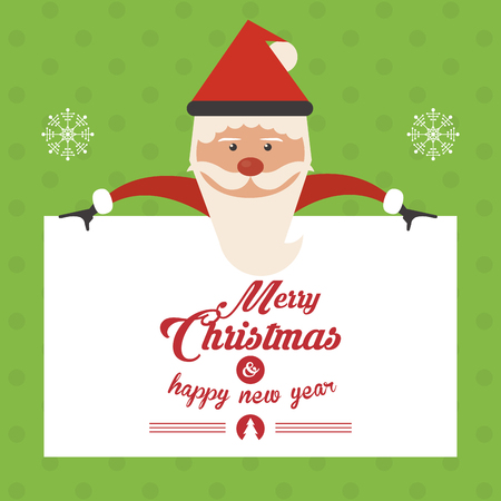 christmas concept: Merry Christmas concept represented by santa with snowflake icon. Colorful and flat illustration. Green Background Illustration