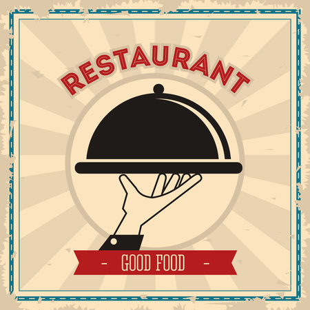 food plate: Menu and Food concept represented by plate icon over striped background. Colorful and Retro illustration