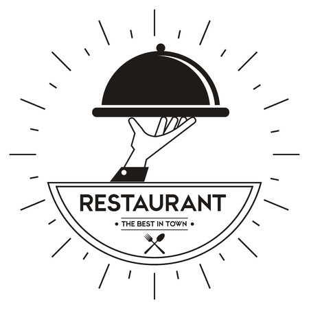 food plate: Menu and Food concept represented by plate icon. Isolated and Retro illustration. Black and White image